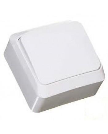 Выключатель одноклавишный наружный белый