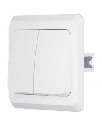 КВАРТА Выключатель двухклавишный скрытый белый в сборе