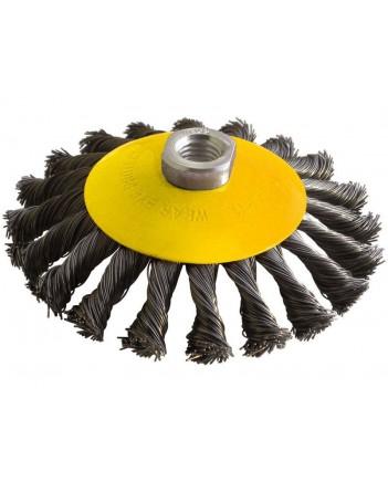 Корщетка-колесо 100мм, витая, с наклоном, гайка М14  39110