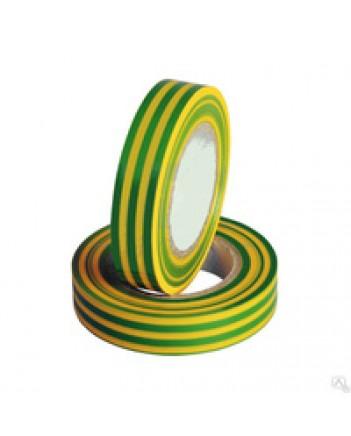 Изолента ПВХ 19х20 полосатая желто-зеленая