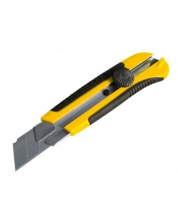 Нож тех. с сег. лезвием, усил, 25мм, обрезин. пласт. корпус, мет. направляющ, винт. фикс 10327