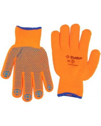 ЗУБР АНГАРА, р-р S-M,перчатки утепленные с начесом, акрил.с ПВХ покрыт.(точка) 11464-S